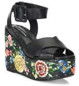 Alice + Olivia Violet Leather Platform Wedge Sandals