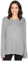 Heather Split Front Long Sleeve Top