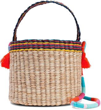 Nannacay Nica Tasseled Woven Straw Bucket Bag