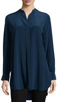 Joseph Stand-Collar Silk Tunic Top