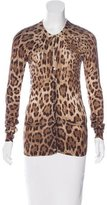 Dolce & Gabbana Silk Leopard Print Cardigan