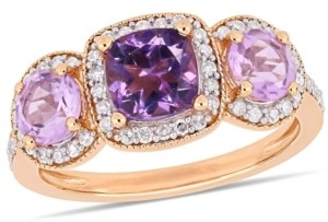 Macy's Blue Topaz (2-1/6 ct.t.w.) and Diamond (1/3 ct.t.w.) 3-Stone Halo Ring in Sterling Silver(Also Available In Amethyst)