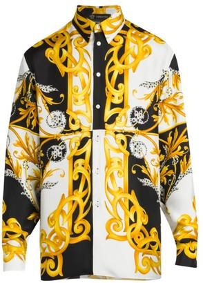 Versace Long-Sleeve Printed Silk Shirt