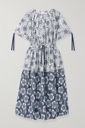 Moncler Floral-print Cotton-poplin Midi Dress - Navy