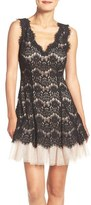 Betsy & Adam Women's Tiered Lace Fit & Flare Dress