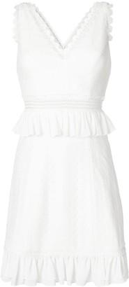 Three floor ruffle-trimmed mini dress
