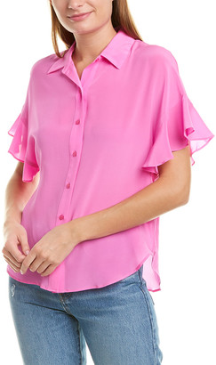 Lavender Brown Spread Collar Silk Shirt