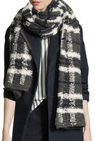 Brunello Cucinelli Long Chunky Plaid Scarf, Charcoal