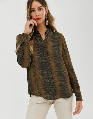 And other stories & snake print shirt in tan