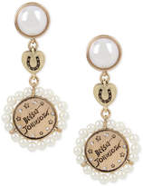 Betsey Johnson Gold-Tone Pavé Imitation Pearl Triple Drop Earrings