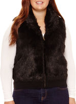Arizona Zip-Front Faux-Fur Vest - Juniors Plus