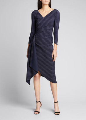 Chiara Boni Pinstriped V-Neck Ruched Dress with Sash