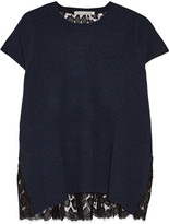 Autumn Cashmere Lace-paneled cashmere top