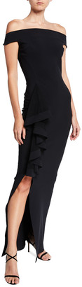 Chiara Boni Banded Off-the-Shoulder Side Drape Column Gown with Slit