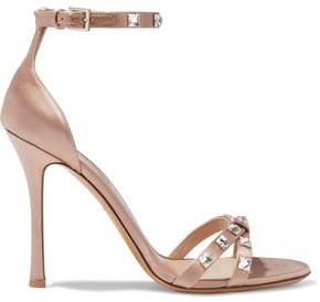 Valentino Rockstud Glam Crystal-embellished Satin Sandals