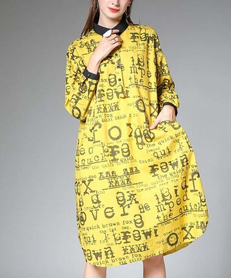 Jian Ruyi Women's Casual Dresses Yellow - Yellow & Black 'The Quick Brown Fox' Long-Sleeve Shift Dress - Women