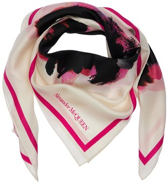 Alexander McQueen Floral Printed Silk Twill Scarf