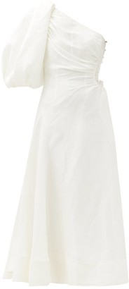 Aje One-shoulder Side-cutout Linen-blend Dress - White