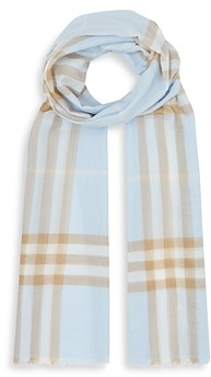 Burberry Lightweight Giant Check Wool & Silk Scarf