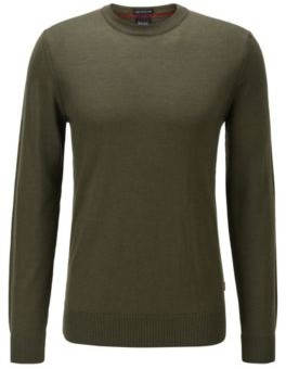 HUGO BOSS Wool Blend Sweater With Striped Detail - Light Green