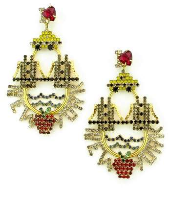 Elizabeth Cole I Love New York Crystal Drop Earrings