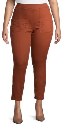 No Boundaries Juniors' Plus Size Essential Knit Pull On Jeggings with Ribbed Waistband and Chop Pockets