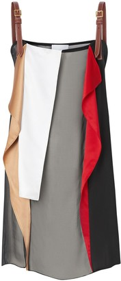 Burberry Leather Detail Colour Block Silk Top