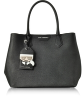 Karl Lagerfeld K/Shopper Black Leather Tote Bag w/Luggage Tag