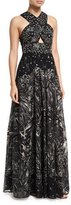 Marchesa Crisscross High-neck Sleeveless Embroidered Tulle Gown