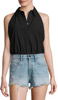 Alexander Wang Sleeveless Washed Poplin Bodysuit, Black