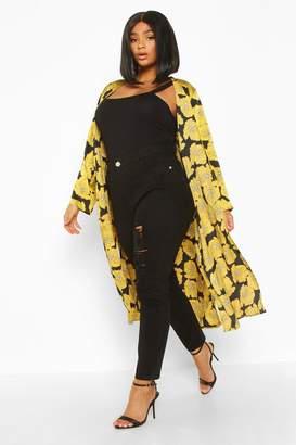 boohoo Plus Oversize Floral Midi Kimono