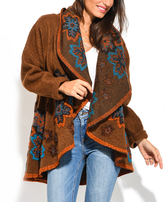 Orange & Teal Floral Wool-Blend Open Cardigan - Plus Too