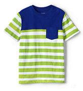 Lands' End Boys Husky Pieced Stripe Tee-Rich Sapphire Stripe