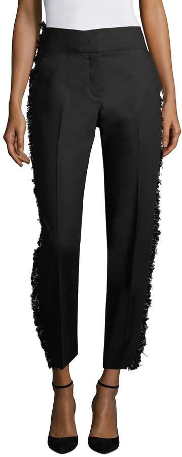 Derek Lam Women's Tapered Lace-Trimmed Wool Pants