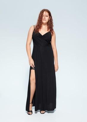 MANGO Violeta BY Lace detail dress black - 16 - Plus sizes