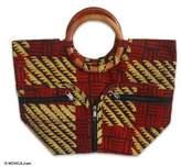 Cotton batik handbag, 'African Forest'