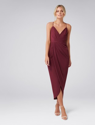 Forever New Charlotte Drape Maxi Dress - Red Shiraz - 4