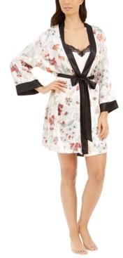 Linea Donatella Floral Wrap Robe & Lace-Trim Chemise 2pc Set
