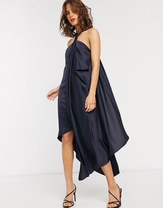 Asos Design DESIGN drape midi satin dress with clasp and strap detail-Navy