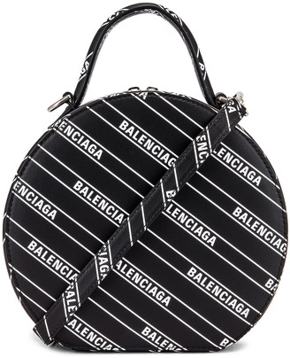 Balenciaga XS Logo Vanity Round Bag in Black & White | FWRD