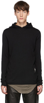 Rick Owens Black Knit Lighting Bolt Hoodie