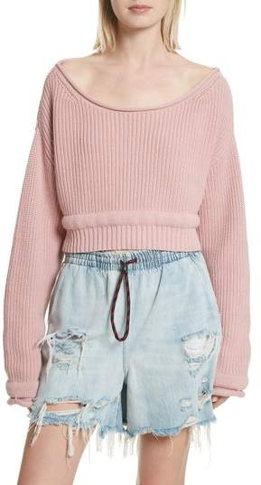 Alexander Wang Chunky Boatneck Crop Sweater
