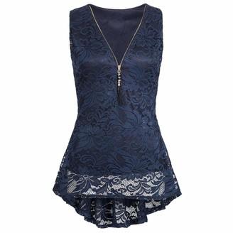 Kanpola Women Floral Lace Zip Up Tank Top Sleeveless Slim Vest Pure T Shirts Navy Blue