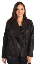 DKNY Plus Size Faux Suede Draped Front Jacket (Jet) - Apparel