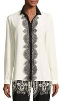 Etro Paisley Lace-Trim Silk Blouse, White