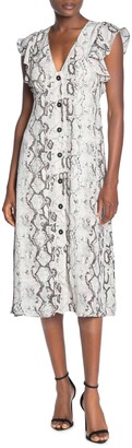 Laundry by Shelli Segal Snake Print V-Neck Midi Dress