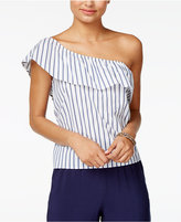 Amy Byer Juniors' Striped One-Shoulder Poplin Top