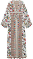 Tory Burch Rosemary Printed Silk Crepe De Chine And Jacquard Dress - Ivory