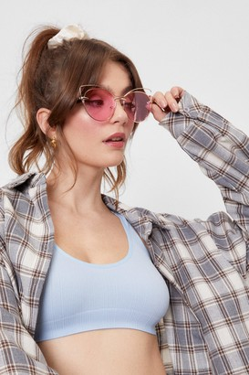 Nasty Gal Womens What Do You Pink Oversized Cat-Eye Sunglasses