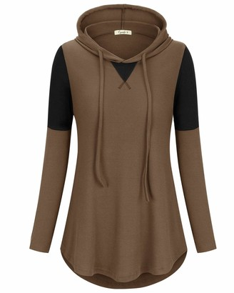 Cyanstyle Womens Long Sleeves Tunic Shirts Light Weight Color Block Casual Loose Hoodies Brown XX-Large